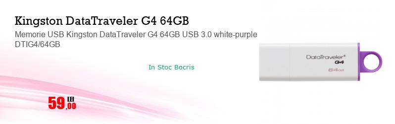 Memorie USB Kingston DataTraveler G4 64GB USB 3.0 white-purple DTIG4/64GB