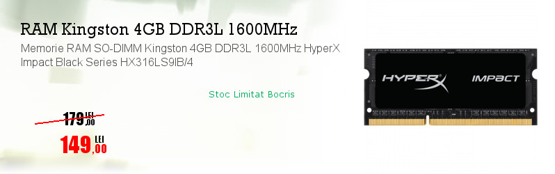 Memorie RAM SO-DIMM Kingston 4GB DDR3L 1600MHz HyperX Impact Black Series HX316LS9IB/4