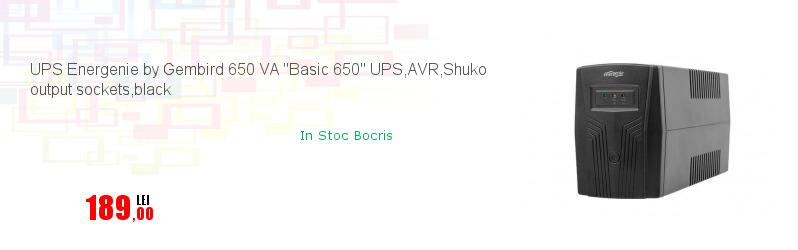 UPS Energenie by Gembird 650 VA ''Basic 650'' UPS,AVR,Shuko output sockets,black