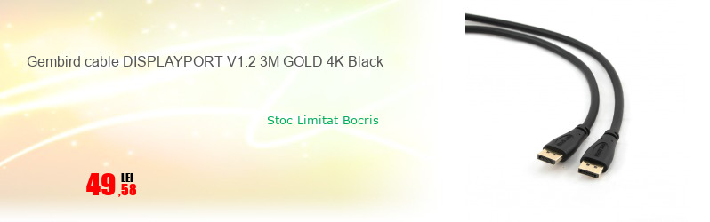 Gembird cable DISPLAYPORT V1.2 3M GOLD 4K Black