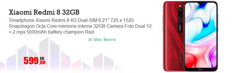 "Smartphone Xiaomi Redmi 8 4G Dual SIM 6.21"" 720 x 1520 Snapdragon Octa Core memorie interna 32GB Camera Foto Dual 12 + 2 mpx 5000mAh battery champion Red"