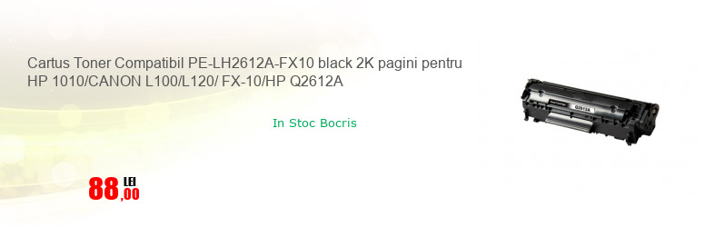 Cartus Toner Compatibil PE-LH2612A-FX10 black 2K pagini pentru HP 1010/CANON L100/L120/ FX-10/HP Q2612A
