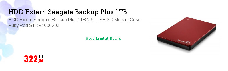 "HDD Extern Seagate Backup Plus 1TB 2.5"" USB 3.0 Metalic Case Ruby Red STDR1000203"