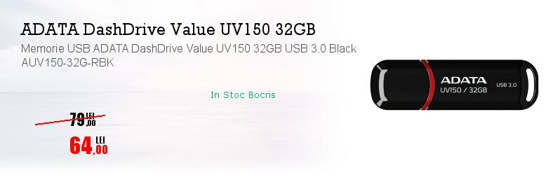Memorie USB ADATA DashDrive Value UV150 32GB USB 3.0 Black AUV150-32G-RBK