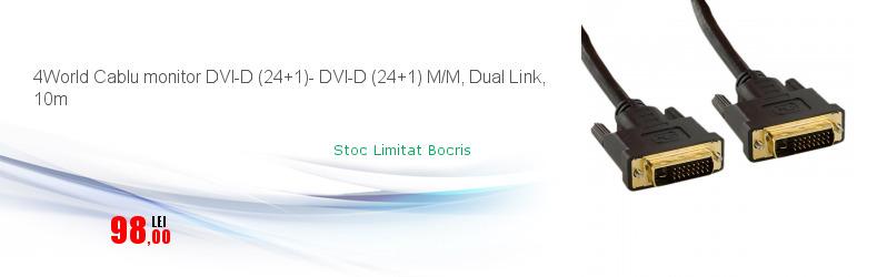 4World Cablu monitor DVI-D (24+1)- DVI-D (24+1) M/M, Dual Link, 10m