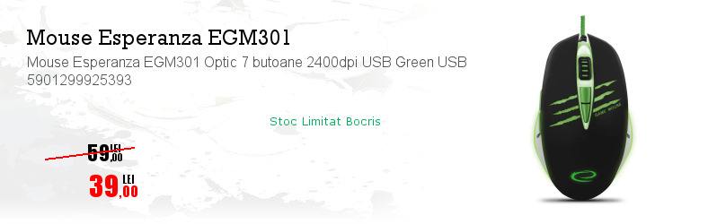 Mouse Esperanza EGM301 Optic 7 butoane 2400dpi USB Green USB 5901299925393
