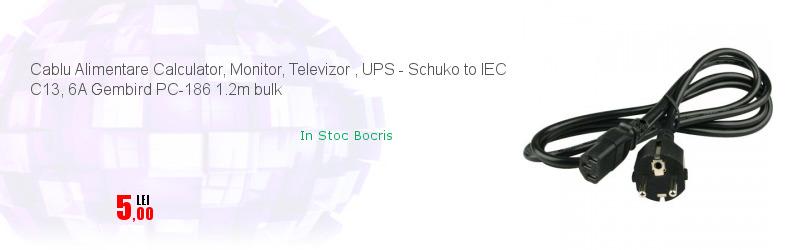 Cablu Alimentare Calculator, Monitor, Televizor , UPS - Schuko to IEC C13, 6A Gembird PC-186 1.2m bulk