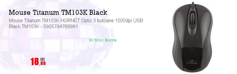 Mouse Titanum TM103K HORNET Optic 3 butoane 1000dpi USB Black TM103K - 5905784768991