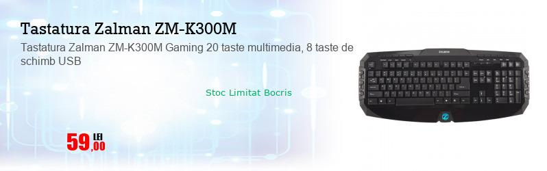Tastatura Zalman ZM-K300M Gaming 20 taste multimedia, 8 taste de schimb USB