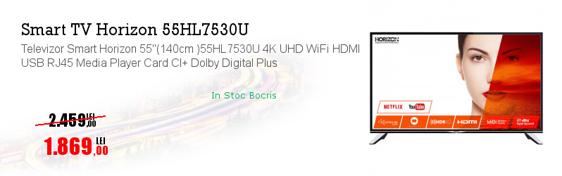 "Televizor Smart Horizon 55""(140cm )55HL7530U 4K UHD WiFi HDMI USB RJ45 Media Player Card CI+ Dolby Digital Plus"