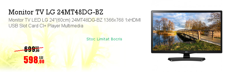 "Monitor TV LED LG 24""(60cm) 24MT48DG-BZ 1366x768 1xHDMI USB Slot Card CI+ Player Multimedia"
