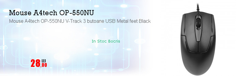 Mouse A4tech OP-550NU V-Track 3 butoane USB Metal feet Black
