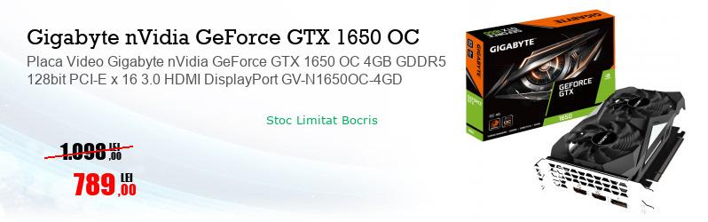 Placa Video Gigabyte nVidia GeForce GTX 1650 OC 4GB GDDR5 128bit PCI-E x 16 3.0 HDMI DisplayPort GV-N1650OC-4GD