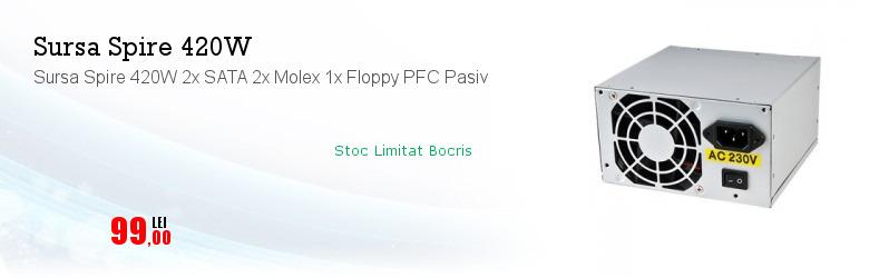 Sursa Spire 420W 2x SATA 2x Molex 1x Floppy PFC Pasiv