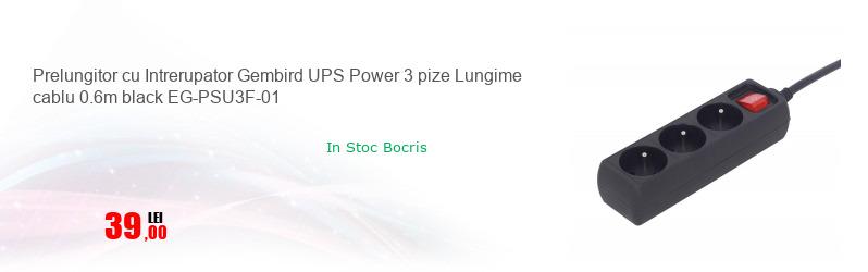 Prelungitor cu Intrerupator Gembird UPS Power 3 pize Lungime cablu 0.6m black EG-PSU3F-01
