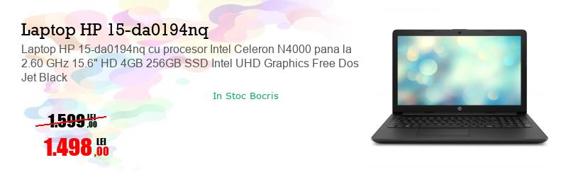 "Laptop HP 15-da0194nq cu procesor Intel Celeron N4000 pana la 2.60 GHz 15.6"" HD 4GB 256GB SSD Intel UHD Graphics Free Dos Jet Black"