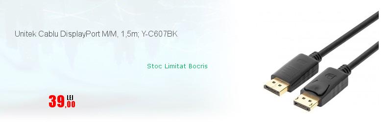 Unitek Cablu DisplayPort M/M, 1,5m; Y-C607BK