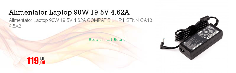Alimentator Laptop 90W 19.5V 4.62A COMPATIBIL HP HSTNN-CA13 4.5X3