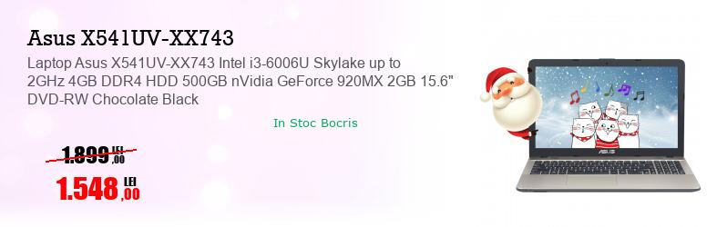 "Laptop Asus X541UV-XX743 Intel i3-6006U Skylake up to 2GHz 4GB DDR4 HDD 500GB nVidia GeForce 920MX 2GB 15.6"" DVD-RW Chocolate Black"