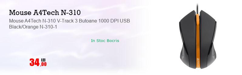Mouse A4Tech N-310 V-Track 3 Butoane 1000 DPI USB Black/Orange N-310-1