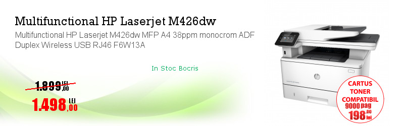 Multifunctional HP Laserjet M426dw MFP A4 38ppm monocrom ADF Duplex Wireless USB RJ46 F6W13A