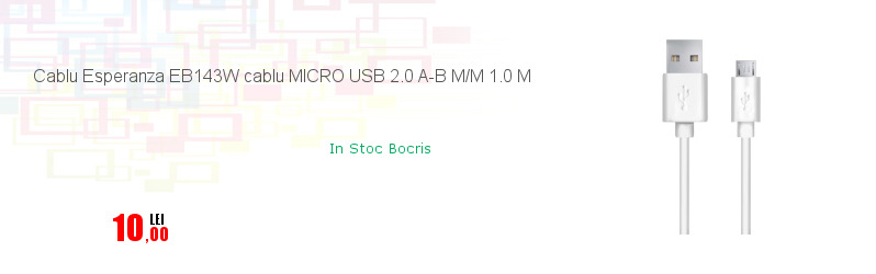 Cablu Esperanza EB143W cablu MICRO USB 2.0 A-B M/M 1.0 M