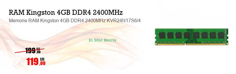 Memorie RAM Kingston 4GB DDR4 2400MHz KVR24N17S6/4