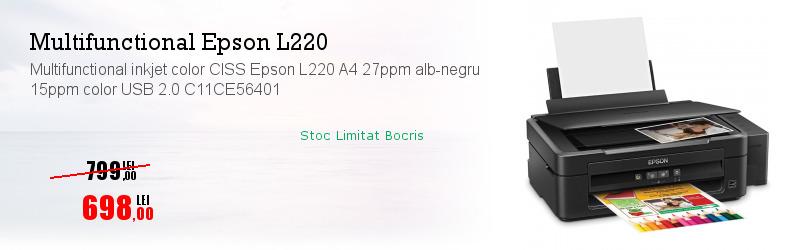 Multifunctional inkjet color CISS Epson L220 A4 27ppm alb-negru 15ppm color USB 2.0 C11CE56401