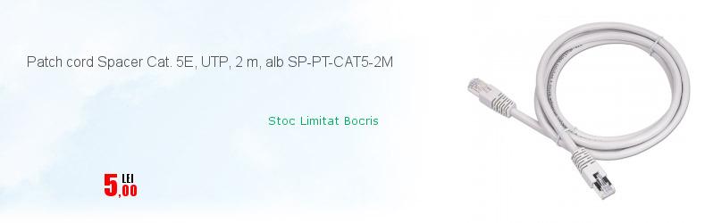 Patch cord Spacer Cat. 5E, UTP, 2 m, alb SP-PT-CAT5-2M