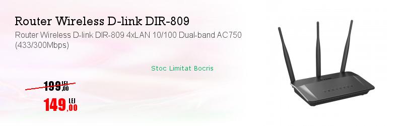 Router Wireless D-link DIR-809 4xLAN 10/100 Dual-band AC750 (433/300Mbps)