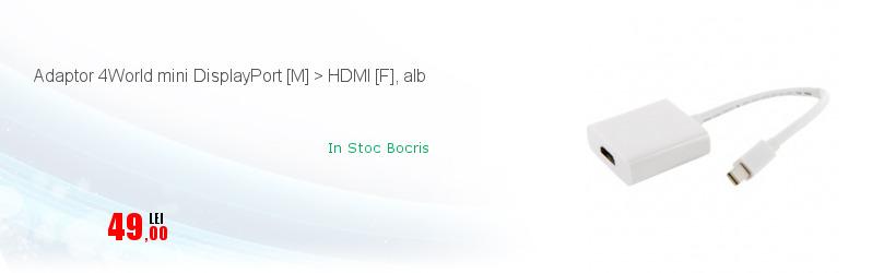 Adaptor 4World mini DisplayPort [M] > HDMI [F], alb