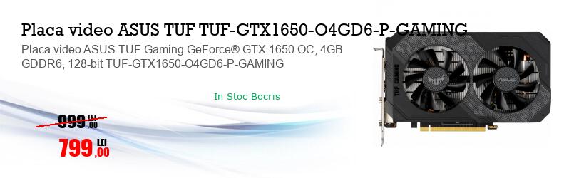 Placa video ASUS TUF Gaming GeForce® GTX 1650 OC, 4GB GDDR6, 128-bit TUF-GTX1650-O4GD6-P-GAMING