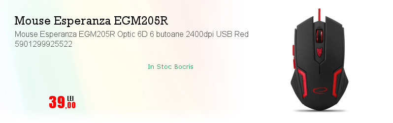 Mouse Esperanza EGM205R Optic 6D 6 butoane 2400dpi USB Red 5901299925522