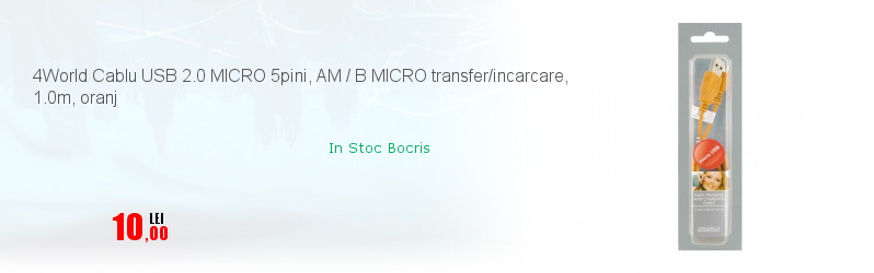 4World Cablu USB 2.0 MICRO 5pini, AM / B MICRO transfer/incarcare, 1.0m, oranj