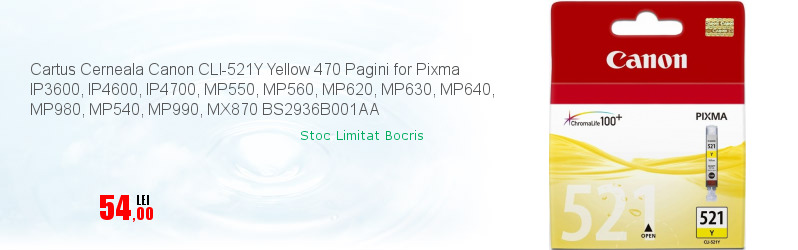 Cartus Cerneala Canon CLI-521Y Yellow 470 Pagini for Pixma IP3600, IP4600, IP4700, MP550, MP560, MP620, MP630, MP640, MP980, MP540, MP990, MX870 BS2936B001AA