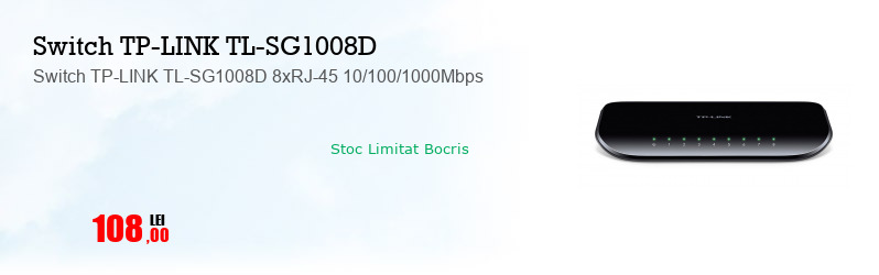 Switch TP-LINK TL-SG1008D 8xRJ-45 10/100/1000Mbps