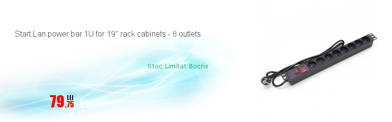 Start.Lan power bar 1U for 19'' rack cabinets - 8 outlets