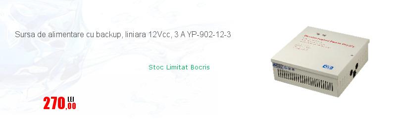 Sursa de alimentare cu backup, liniara 12Vcc, 3 A YP-902-12-3
