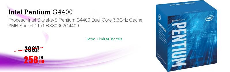 Procesor Intel Skylake-S Pentium G4400 Dual Core 3.3GHz Cache 3MB Socket 1151 BX80662G4400