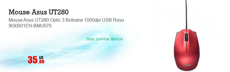 Mouse Asus UT280 Optic 3 Butoane 1000dpi USB Rosu 90XB01EN-BMU070