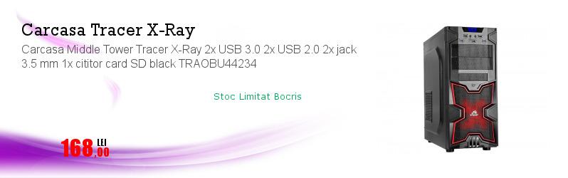 Carcasa Middle Tower Tracer X-Ray 2x USB 3.0 2x USB 2.0 2x jack 3.5 mm 1x cititor card SD black TRAOBU44234
