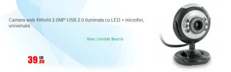 Camera web 4World 2.0MP USB 2.0 iluminata cu LED + microfon, universala