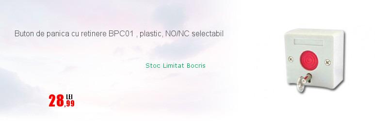 Buton de panica cu retinere BPC01 , plastic, NO/NC selectabil
