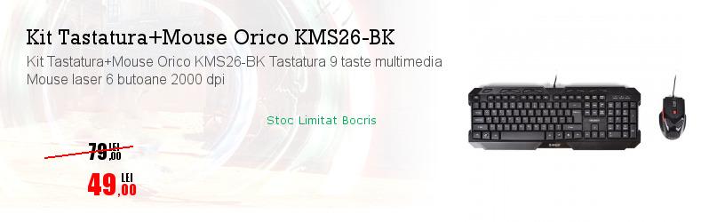 Kit Tastatura+Mouse Orico KMS26-BK Tastatura 9 taste multimedia Mouse laser 6 butoane 2000 dpi