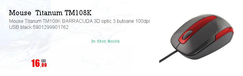 Mouse Titanum TM108K BARRACUDA 3D optic 3 butoane 100dpi USB black 5901299901762