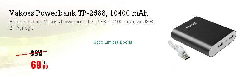 Baterie externa Vakoss Powerbank TP-2588, 10400 mAh, 2x USB, 2.1A, negru