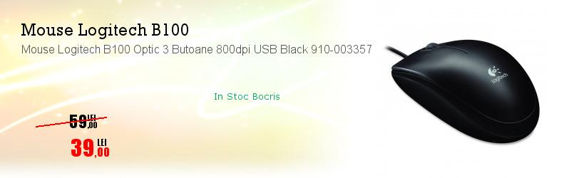 Mouse Logitech B100 Optic 3 Butoane 800dpi USB Black 910-003357