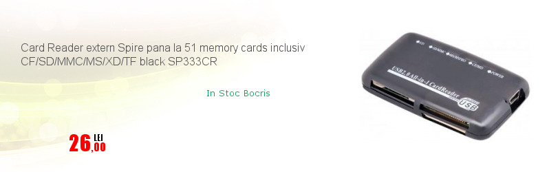 Card Reader extern Spire pana la 51 memory cards inclusiv CF/SD/MMC/MS/XD/TF black SP333CR
