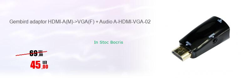 Gembird adaptor HDMI-A(M)->VGA(F) + Audio A-HDMI-VGA-02