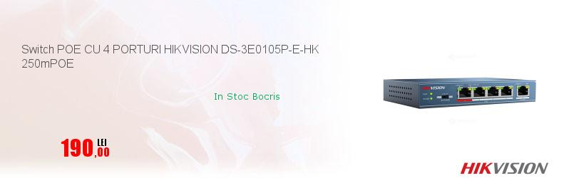 Switch POE CU 4 PORTURI HIKVISION DS-3E0105P-E-HK 250mPOE